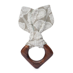 Indian hardwood teething ring for babies made with non toxic vegetable wax and organic cotton ears