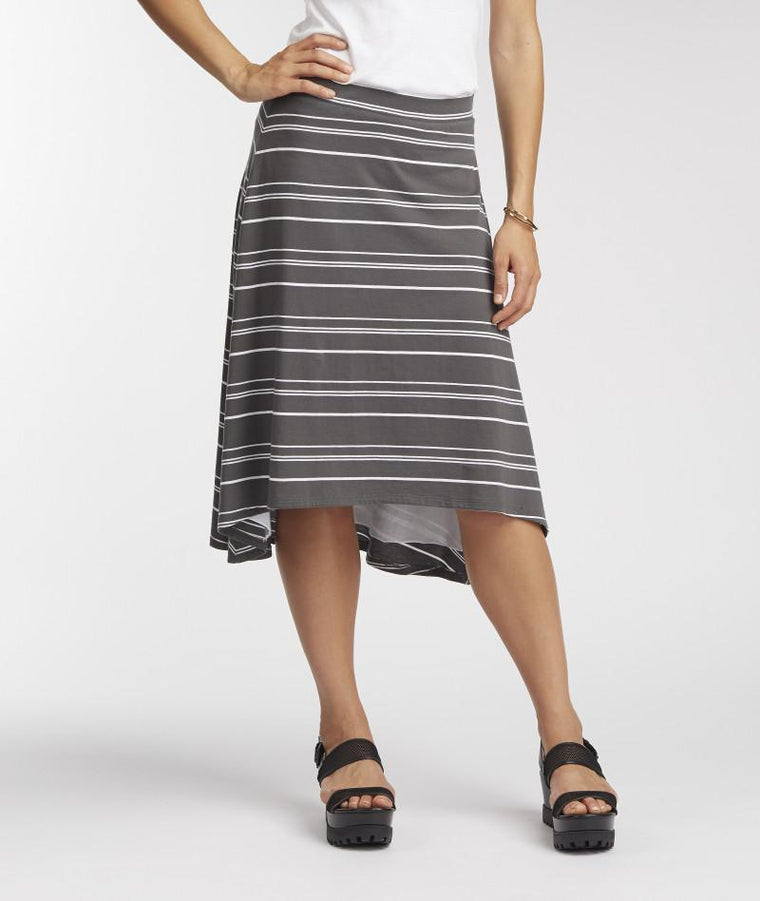 A line skirt in gray and white striped made from organic cotton and fair trade artisans in Peru