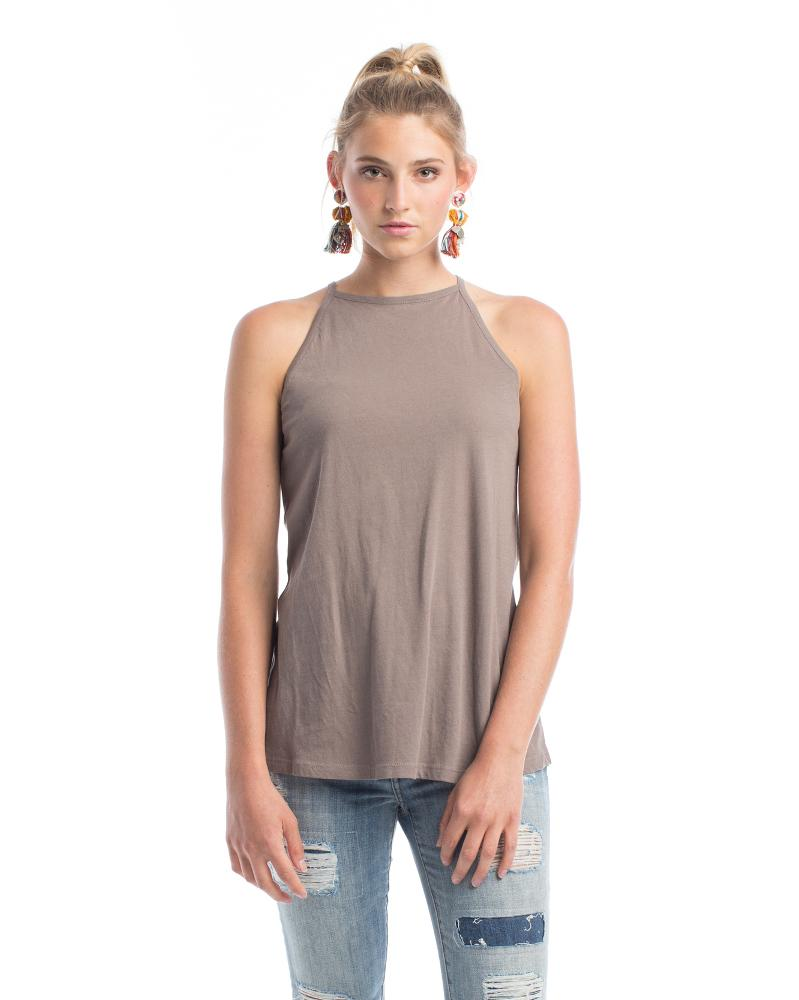 cappuccino colored halter tank top made from organic cotton
