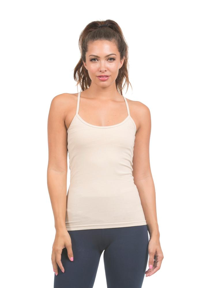 beige tank top made from organic cotton by lily lotus.  made in usa