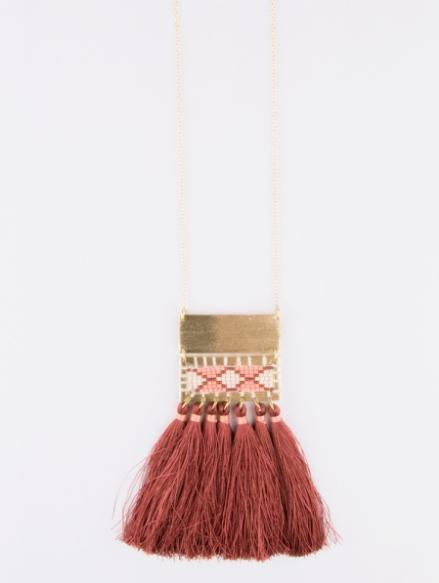 Boho Tassel Necklace - Rose