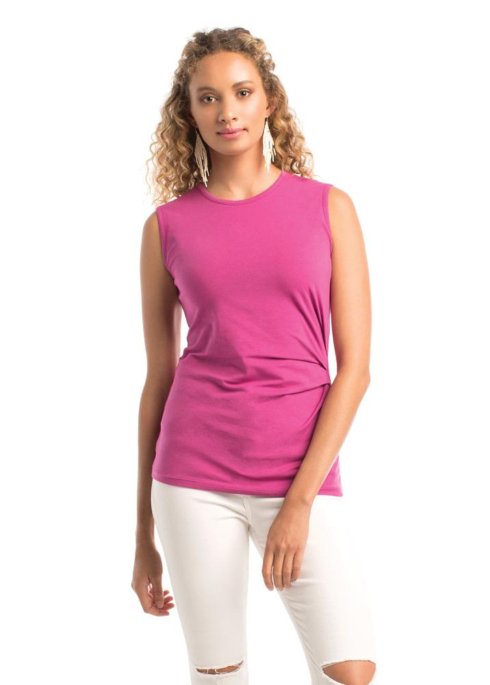 sleeveless hot pink tank cinched on one side made from organic cotton and fair trade