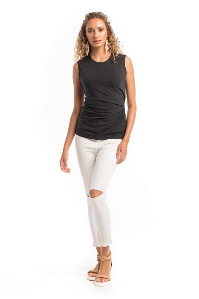 sleeveless women's black tank top cinched on one side made from organic cotton and recycled polyester