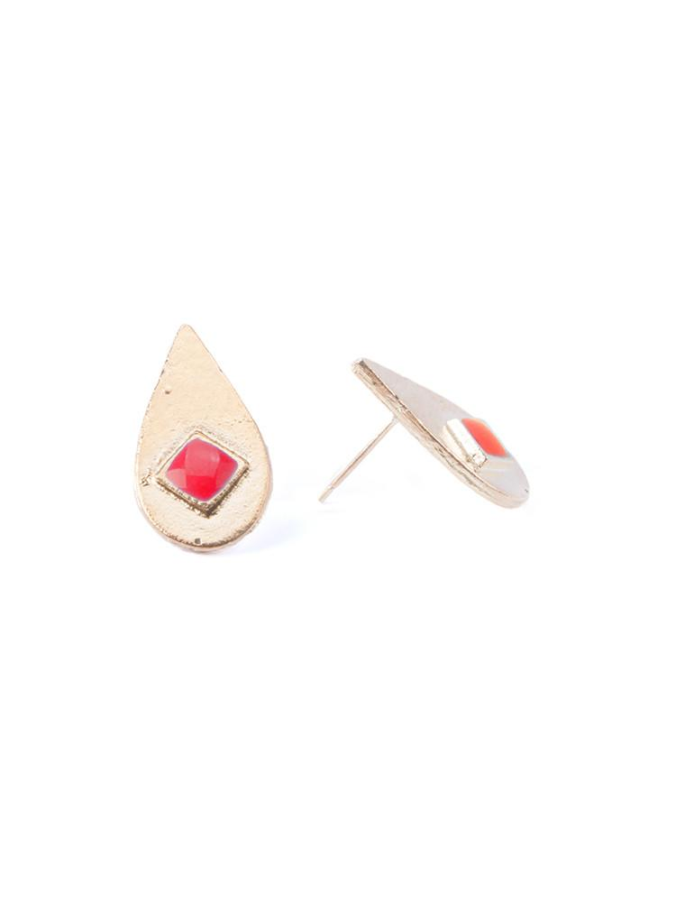 Iona Inlay studs Red by Mata Traders