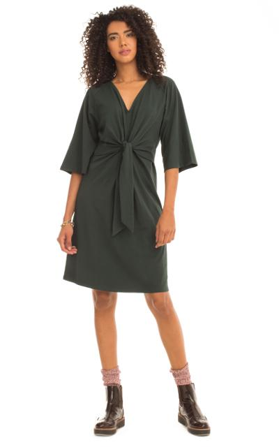 twist front detail on forest green knee length dress made by Synergy Organic Clothing