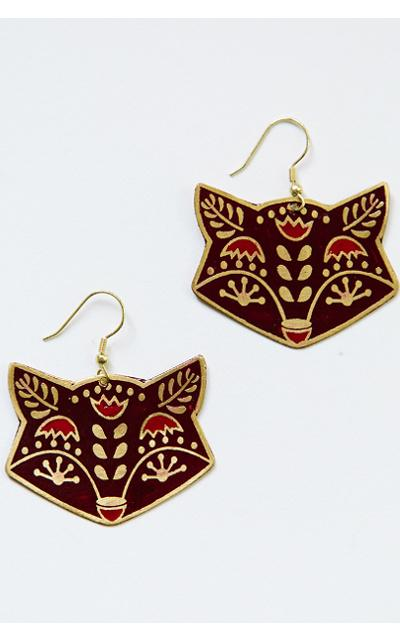 Fair Trade Fox Earrings