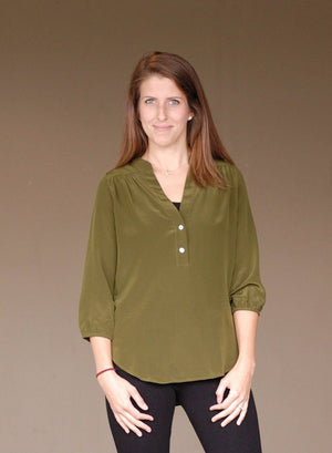 Harlow Blouse - Green Orchyd