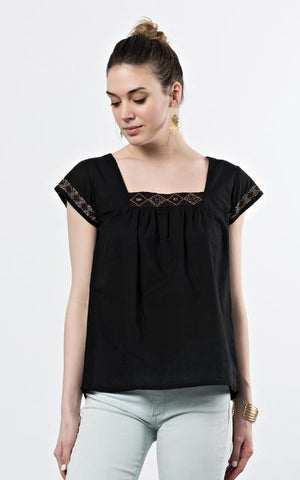 Short Sleeve black top by Mata Traders.  Fair Trade