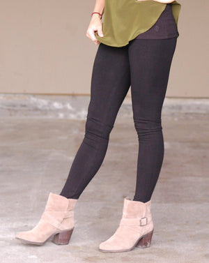 organic cotton and spandex made in the USA long legging in black from lily lotus
