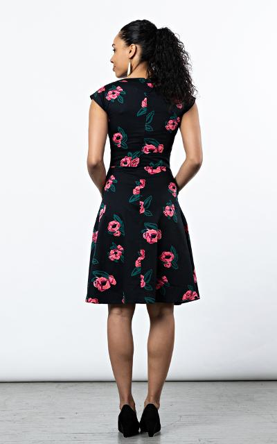 Fair Trade Faux Wrap Dress Black with Roses by Mata Traders