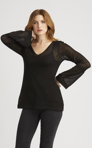 Sheer Alpaca Silk V Neck Top