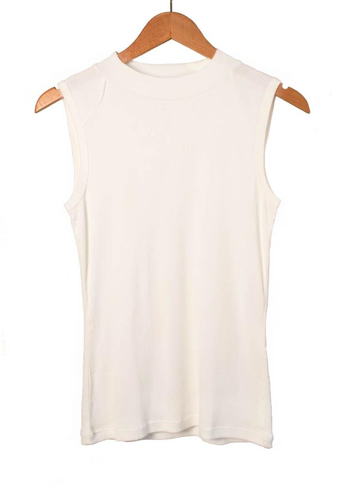 Sleeveless Mock neck tank top made from 100 percent organic cotton
