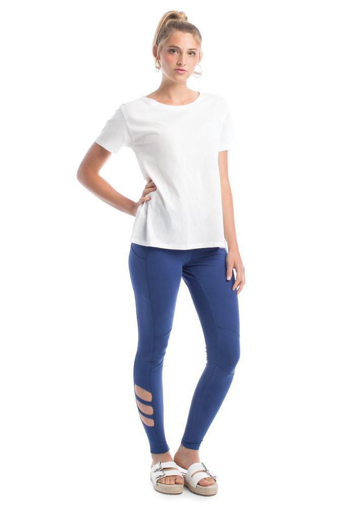 blue women's legging with high waist panel and pocket.  made from GOTS certified organic cotton
