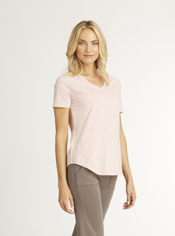 light rose colored v neck tee made from organic cotton