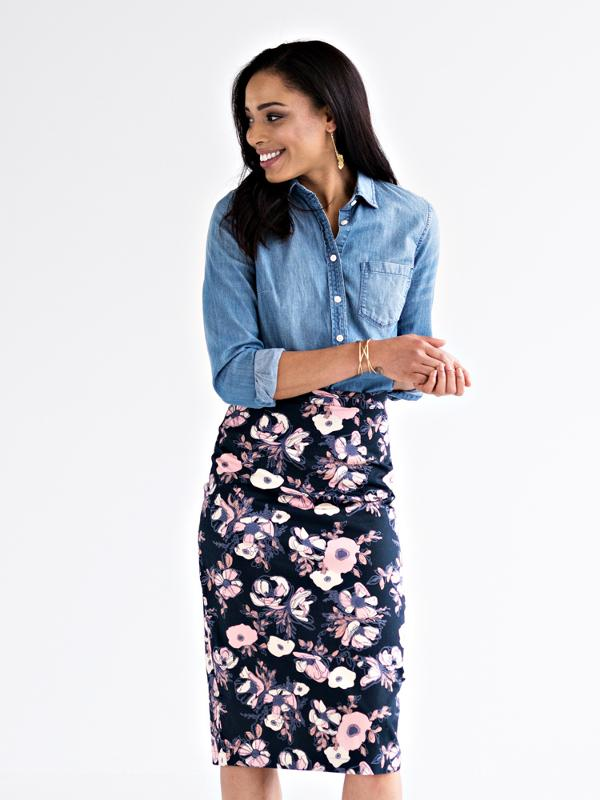 Midi Pencil Skirt inspired by Monet watercolors.  Mata Traders.  Fair Trade