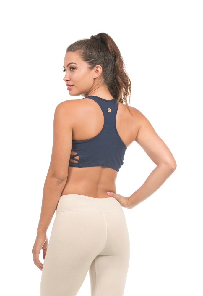 racer tank cropped top or sports bra made from organic cotton by lily lotus.  made in usa