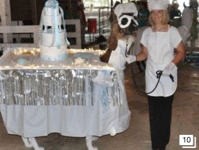 alpaca costume competition dressed up with a cake and a chef