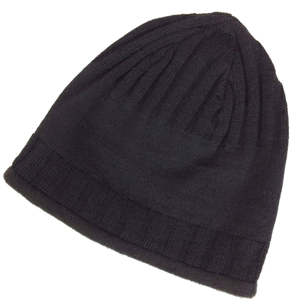 black knit alpaca wool hat