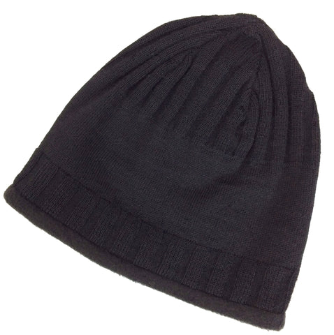 black alpaca beanie hat for men