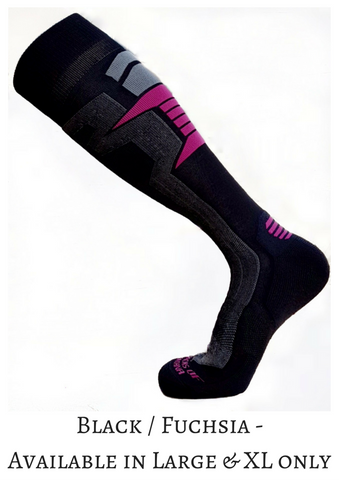 Ski & Snowboard Over-the-Calf Socks - Black / Pink - Alpacas of Montana
