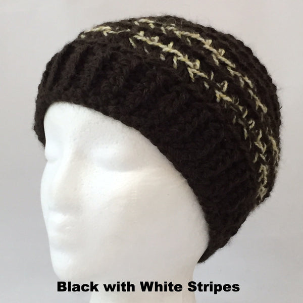 black wool hat with white stripes