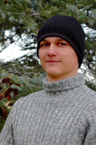 man in sweater wearing Alpaca Beanie Hat