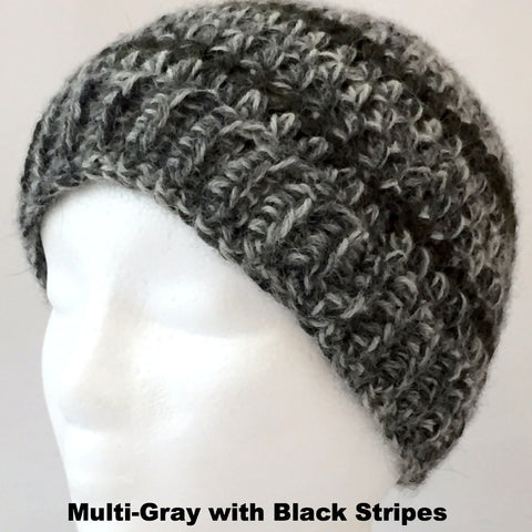 gray wool hat with black stripes