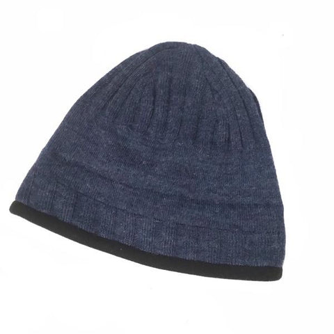 denim blue beanie hat lined with polar fleece