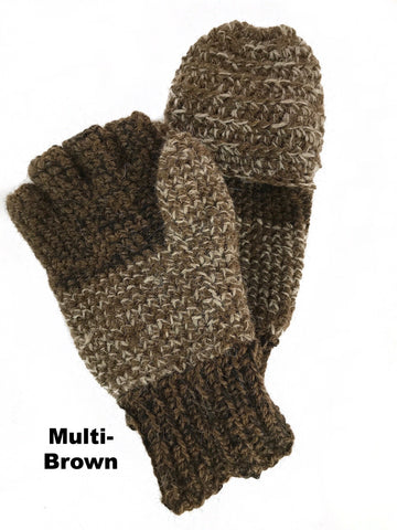 brown thick wool mittens
