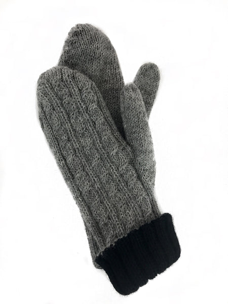 alpaca mittens black and gray for women