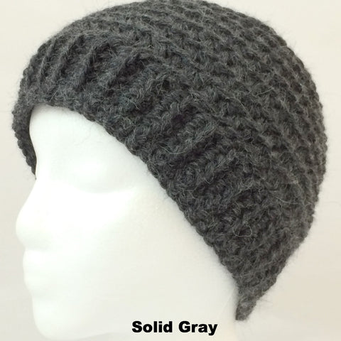 gray alpaca winter hat
