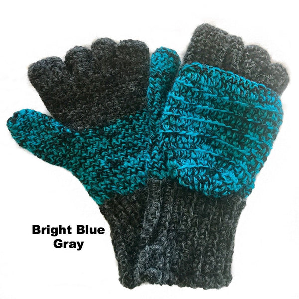 bright blue and gray mens mittens alpaca