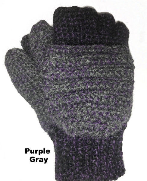 purple and gray mitten gloves combination