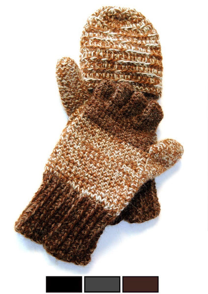 mens brown alpaca mittens
