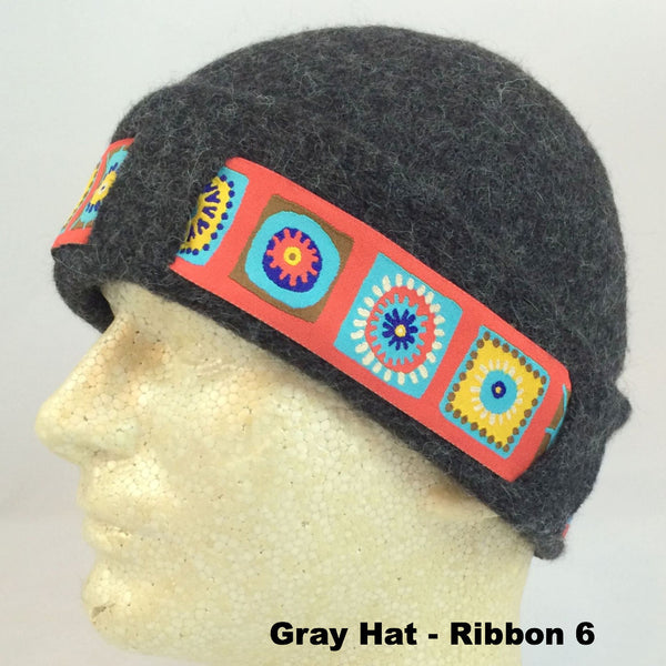 Lined & Felted Alpaca Hat with Ribbon - Alpacas of Montana