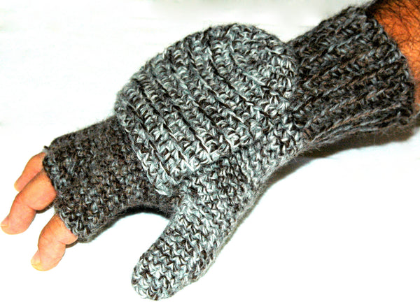 gray convertible mittens on mans hand