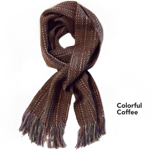 fawn and brown woven scarf