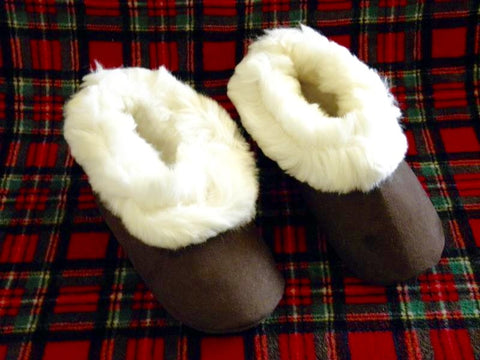 Alpaca Fur Slippers with Suede Soles - Alpacas of Montana