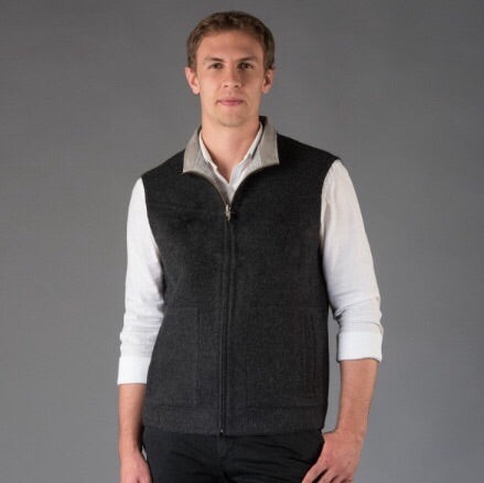 Alpaca Vest worn on a man that is black and gray