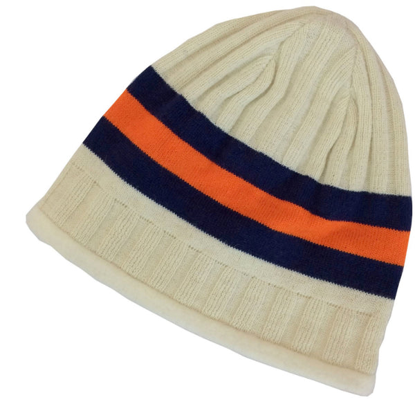 cream striped hat with denver bronco colors orange and navy blue