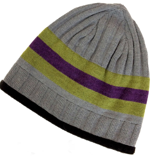 alpaca hat that is gray with green and purple stripes