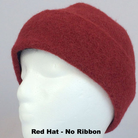 Adult Lined & Felted Alpaca Hat with Ribbon -12 Colors - Alpacas of Montana