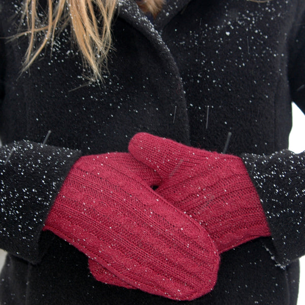 lady in jacket wearing red womens winter mittens