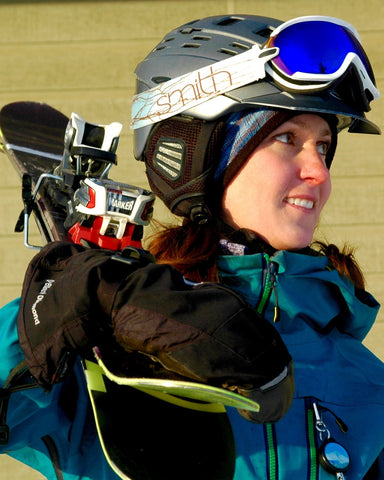 woman with ski equipment where alpaca ski helmet liner
