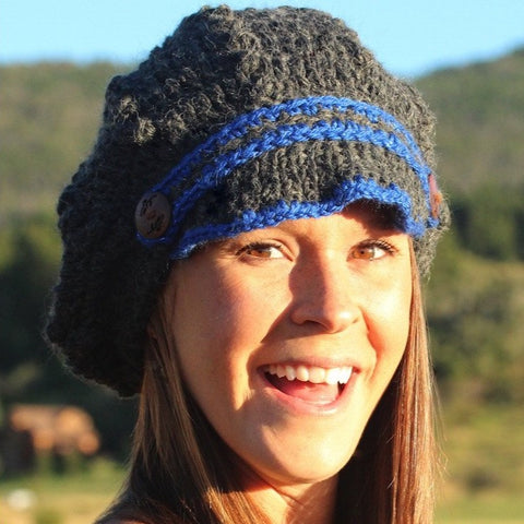 Hand Knit Brimmed Slouch Hat