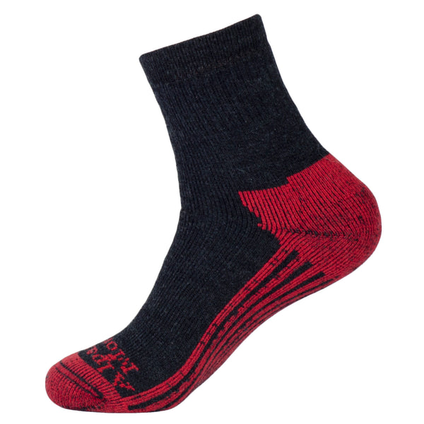 red and black wool socks hiking and camping