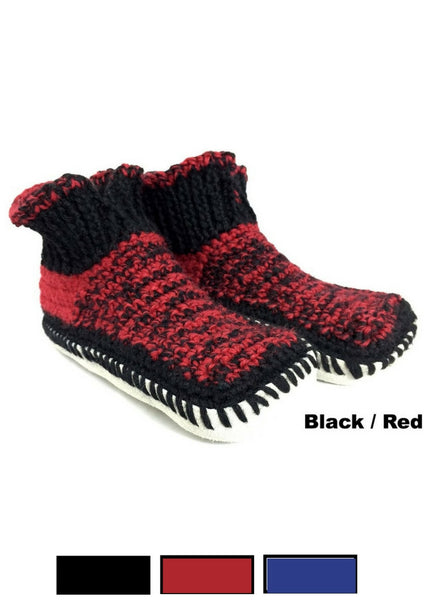 Hand Knit Alpaca Slippers with Soles