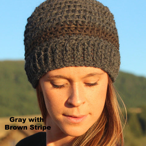 gray and brown striped alpaca hat