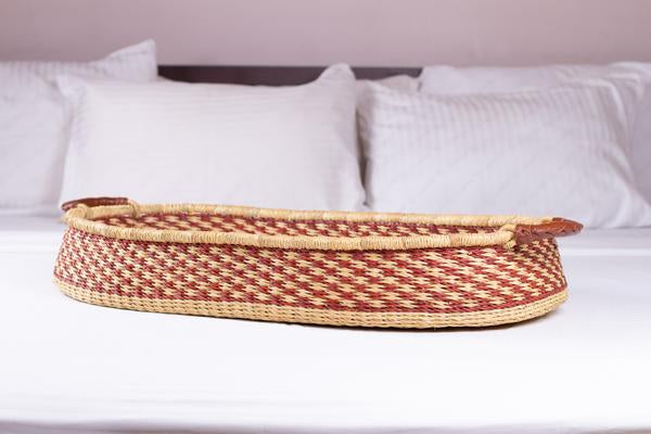 Imperfect Handwoven Changing Basket: Golden Argyle