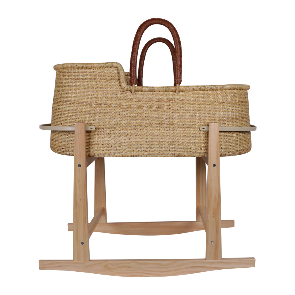 Modern Rocking Bassinet Stand- Natural Pine